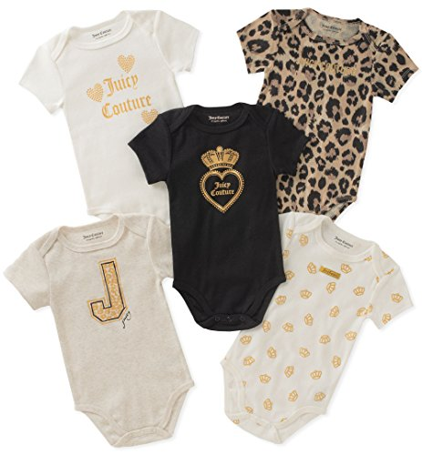 Amazon Com Juicy Couture Baby Girls 5 Packs Bodysuit Clothing