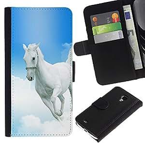 KingStore / Leather Etui en cuir / Samsung Galaxy S4 Mini i9190 / Mustang Horse azul cielo Dios cristiano Blanca