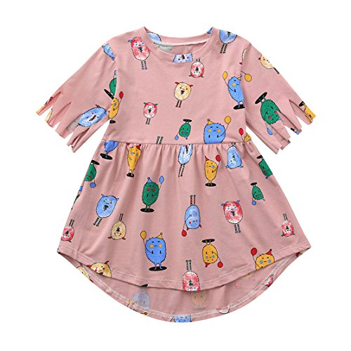 ZHANGVIP Toddler Kids Baby Girls Cartoon Tassel Printed Dress Summer Casual Beach Party Outfits Clothes Skirt (3T, (Baby Pink Cheerleader Dress)