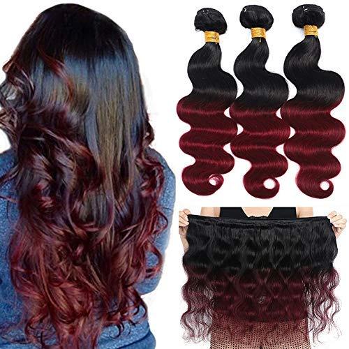 Ombre Brazilian Hair Body Wave Bundles 3pcs,Ombre Brazilian Virgin Hair Human Hair Weave Two Tone Black to Burgundy (T1B/99J,10 12 - Hair Ombre Weave Human