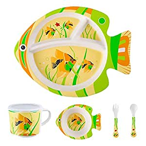 ZAD HOME Bamboo Fiber Plate, Fish Shape Style Bamboo Dinnerware 5 Pieces Sets Bamboo Fiber Children Table Ware