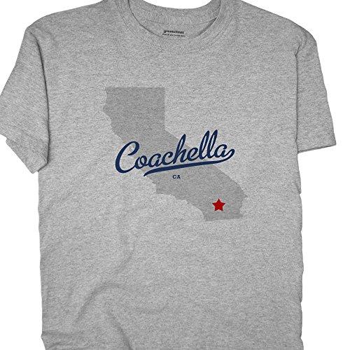 GreatCitees Unisex Coachella California CA T Shirt MAP Souvenir XL Grey
