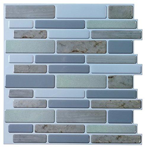 "12""x12"" Peel and Stick Backsplah Tile Self Adhesive Mosaic Backsplash for Kitchen, Jade Design (6 Pack)"