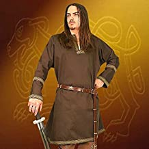 Museum Replicas Cotton Viking Tunic LARP Medieval Halloween Costume (Brown, Regular)