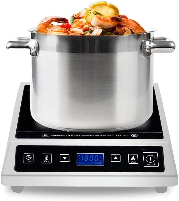 Commercial induction Cooktop, Warmfod Electric Countertop Burner 1800W(120v) LCD Screen, with ANTI-SKIP SURFACE