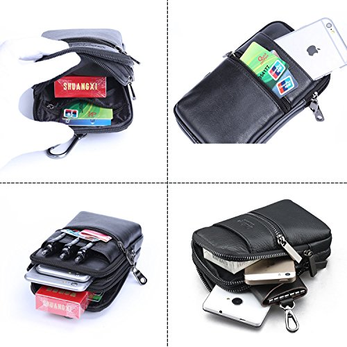 Belt Pouch Bag Genuine Leather iPhone 6/7 Plus Holster Case with Belt Loop Men Travel Belt Bag Small Wallet Purse With Shoulder Strap Waist Bag Crossbody iPhone Pouch Fanny Messager Pack+Hwin Keychain
