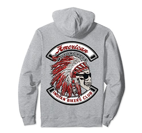 Unisex American Motorcycle Indian Bikers Club Hoodie 2XL Heather Grey -