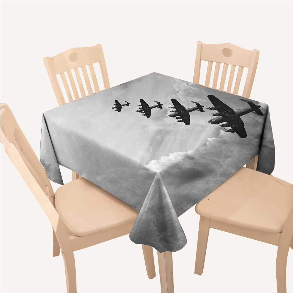WilliamsDecor Airplane Outdoor Tablecloth Retro Image of Lancaster Bomber Jets from Battle Royal Air Force in Clouds PlaneBlack White Square Tablecloth W54 xL54 inch by WilliamsDecor