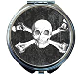 Rikki Knight Tattoo Skull on Grunge Design Round Compact Mirror