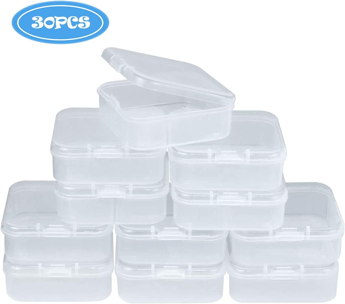 Heatoe 30 Pack Small Clear Plastic Beads Storage Containers Box with Hinged Lid for Small Items Crafts