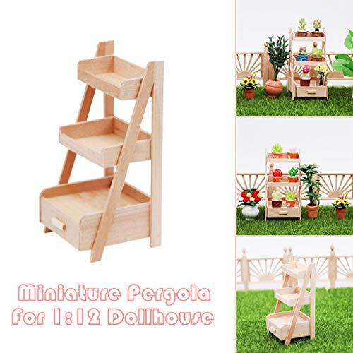 Maikouhai Mini 1/12 Dollhouse Miniature Wooden Pergola Jardiniere in Fairy Garden Accessory Kids Pretend Toys Garden Doll House Decor