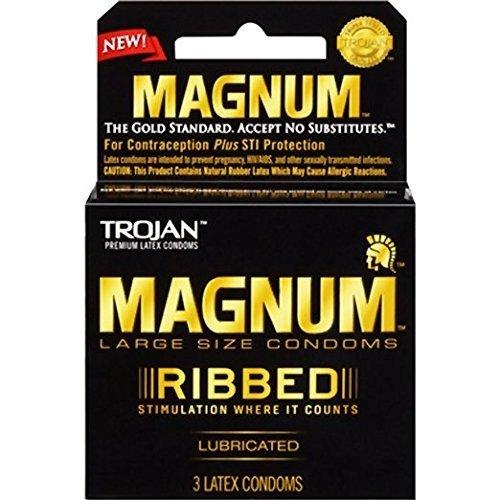 Trojan Magnum Ribbed Latex Condoms, 3 Count Per Pack