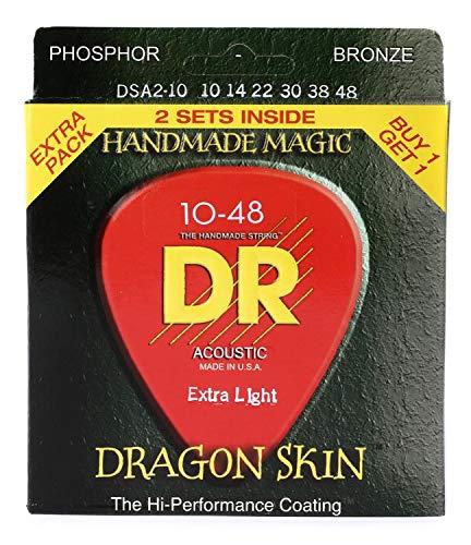 DR Strings DSA-2/10 Dragon-Skin Phosphor Bronze Extra Light Coated Acoustic Strings - 2 Pack