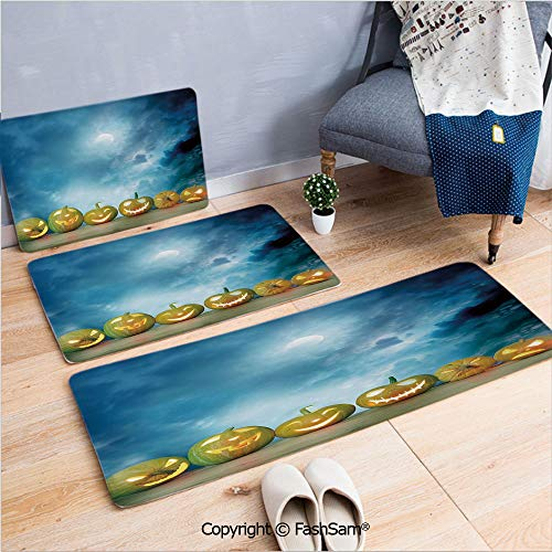 FashSam 3 Piece Flannel Bath Carpet Non Slip Spooky Halloween Pumpkins on Wood Table Dramatic Night Sky Print Decorative Front Door Mats Rugs for Home(W15.7xL23.6 by W19.6xL31.5 by W35.4xL62.9) ()