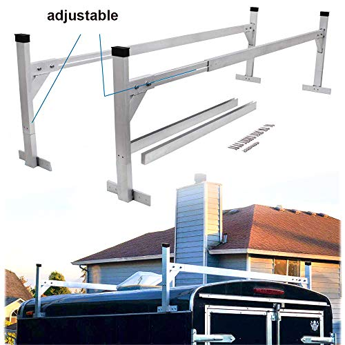 Lonwin Adjustable Aluminum Trailer Ladder Rack fit for Enclosed Trailers