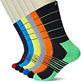 Kold Feet Men's 6-Pack Athletic Crew Socks Colorful Cushion Performance Work Running Socks with Arch Support