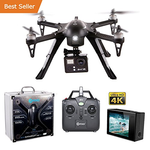 HOLIDAY SPECIAL! Contixo F17+ RC Quadcopter Photography Drone 4K Ultra HD Camera 16MP, Brushless Motors, 1 High Capacity Battery, Supports GoPro Hero Cameras, Alum Hard Case - Best Gift For Christmas by Contixo