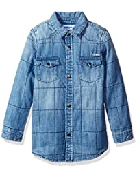 GUESS boys Long Sleeve Quilted Denim Shirt