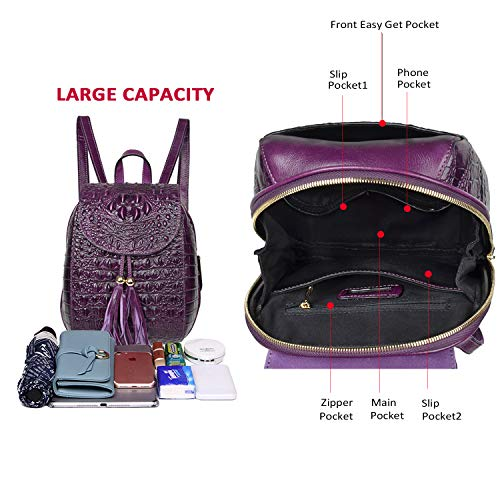 Women Bags Violet Fashion Purses Casual For Backpack Crocodile Leather Backpack PIJUSHI wRF6q77