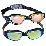 5. EverSport Swim Goggles, Pack of 2 Swimming Goggles, Swim Glasses No Leaking Anti Fog UV Protection for Adult Men Women Youth Kids Child, Watertight (Black with Aqua Lens&Black with Orange Lens)