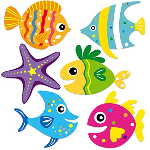 Gone Fishing Party Cutouts Colorful Fish Accents for Classroom Bulletin Board 38 Count