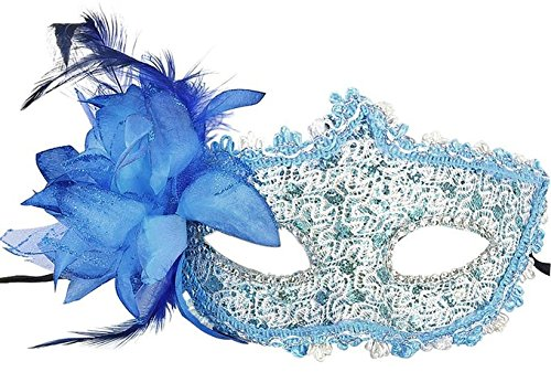 Yansanido Sexy Charm Blue Lace Mask Women's Party Masquerade Eye Mask Party Ball Masquerade Fancy Dress for Halloween Night (Blue)