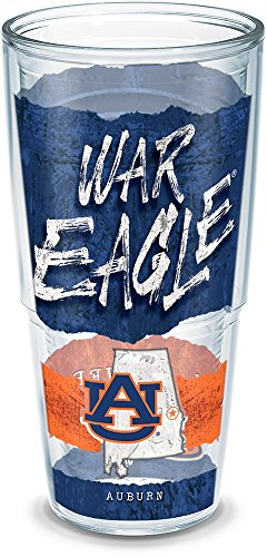 Tervis 1218169 Auburn Tigers College Statement Insulated Tumbler with Wrap, 24oz, Clear ()