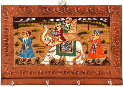 JaipurCrafts Wood Key Holder  4 Hooks, Multicolor  Wall Decor   Hangings