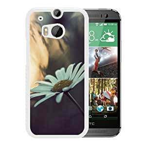 New Custom Designed Cover Case For HTC ONE M8 With White Daisy Flower Mobile Wallpaper (2) Phone Case