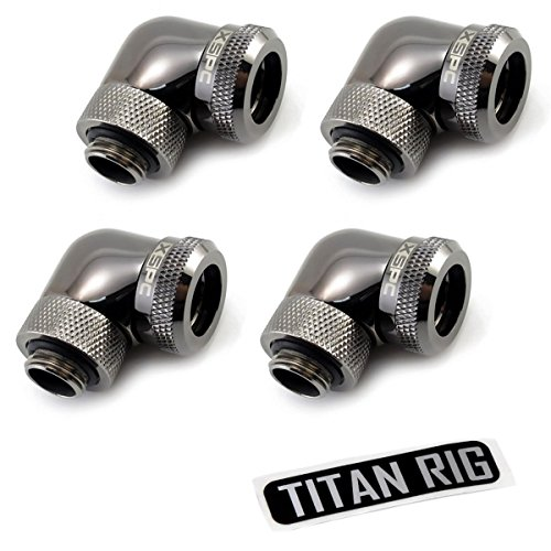 XSPC G1/4 to 10mm ID, 14mm OD Rigid Tubing Fitting, 90� Rotary (With XSPC Metal & PETG Tubing Only) Black Chrome 4-Pack