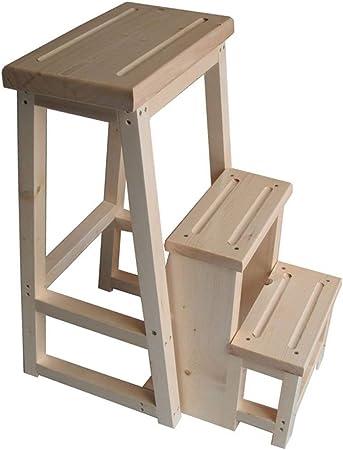 HL-TD Escaleras Extensibles Escalera Plegable De Madera Maciza De Tres Niveles Escalera del Taburete Plegable Multifuncional Domésticos De Cocina Escala De Madera Heces: Amazon.es: Hogar