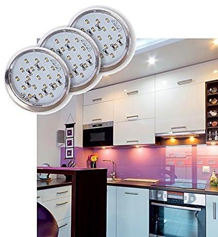 Cromado Juego de 3 LED de iluminación para armario – 12 V Total 5,4