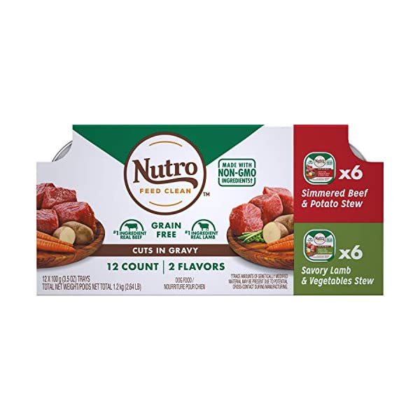 NUTRO Adult High Protein Natural Grain Free Wet Dog Food Cuts in Gravy Simmered Beef & Potato Stew and Savory Lamb & Vegetable Stew Variety Pack, (12) 3.5 oz. Trays