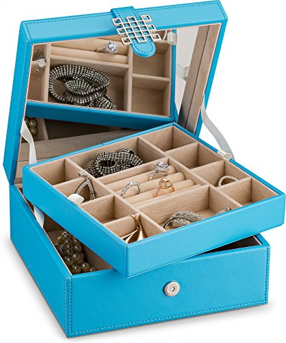 Glenor Co Jewelry Box Organizer - Small 17 Slot Classic Holder with Modern Closure, Large Mirror, 2 Trays for Women, Girls & Teens - Storage Case for Earring Ring Necklace Bracelet - PU Leather Blue by Glenor Co