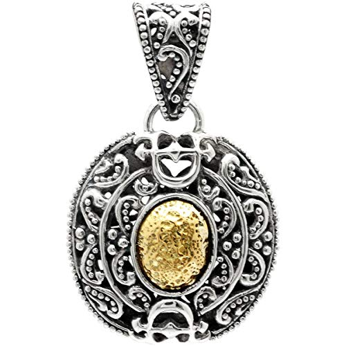 Gold Silver Bali Circle Pendant - Deni Jewelry 925 Sterling Silver and 18 Kt Yellow Gold Hammered Pendant with Balinese Circle Gong Motif and D Stamp Upside-Down for Women and Jewelry Gift, Stamp with 925 18K