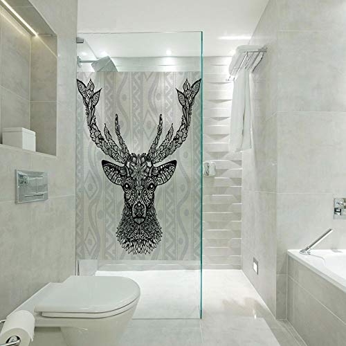- Non Adhesive Frosted Window Film Glass Stickers,Figure of Aboriginal Floral Polynesian Ethnic Deer Pattern Mammal Artistic Boho Design,Customizable size,Suitable for bathroom,door,glass etc,Black Whit