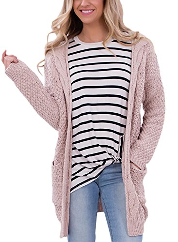 Dokotoo Womens Casual Cozy Long Sleeve Fall Open Front Tunic Knit Sweater Long Cardigan Pullover Coat With Pocket for Work Pink (Chunky Pullover)