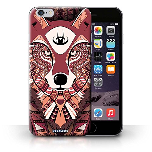 Hülle Case für iPhone 6+/Plus 5.5 / Wolf-Rot Entwurf / Aztec Tier Muster Collection