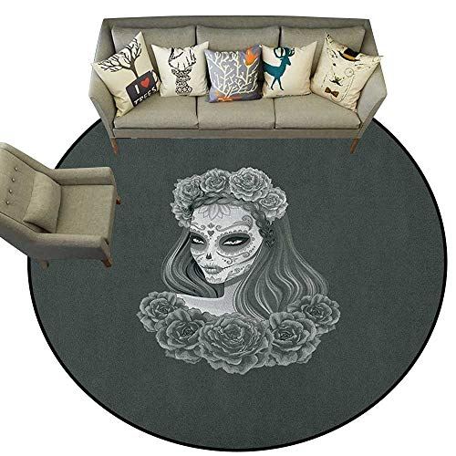 Day of The Dead,Carpet Flooring Gothic Young Girl in Calavera Make Up Hairstyle with Roses D78 Soft Area Rug for Children Baby]()