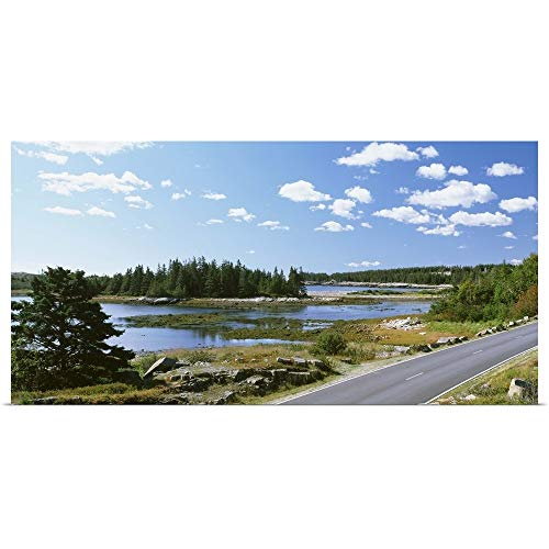 (GREATBIGCANVAS Poster Print Entitled Road Passing Through a Landscape, Park Loop Road, Acadia National Park, Maine by 36