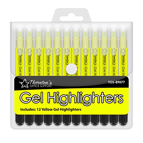 Thorntons Office Supplies School Twist-Retractable Bible Safe No Bleed Through Gel Highlighters Study Kit, Great For Journaling, Pack of 12 (Yellow)