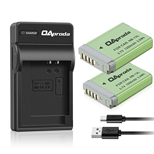 OAproda 2 Pack NB-13L Fully Decoded Battery and Rapid Micro USB Input Charger for Canon PowerShot G5 X, G7 X, G7 X Mark II, G9 X, G9X Mark II, SX720 HS, SX730 HS Digital Camera (Ultra Slim )