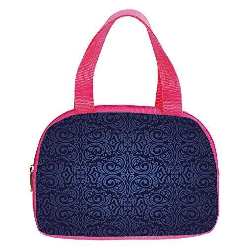 Ellington Vintage Tote - Multiple Picture Printing Small Handbag Pink,Indigo,Victorian Vintage Ancient Royal Times Inspired Floral Leaves Swirls Image Artprint,Dark Blue,for Girls,Comfortable Design.6.3