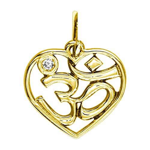 Mini Heart Yoga Ohm, Om, Aum Charm Jewelry in 14k Yellow Gold with Diamond Accent