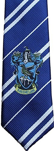 Harry Potter Hogwarts House Logo Necktie - Wizard School Costume Tie (Elasticated, Ravenclaw- BLUE) (Hogwarts School Uniform)