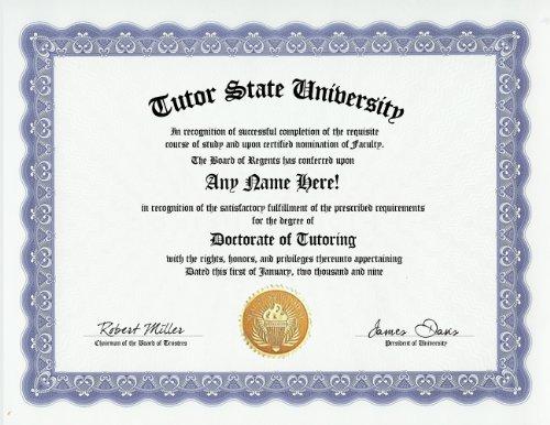 Tutor Tutoring Degree: Custom Gag Diploma Doctorate Certificate (Funny Customized Joke Gift - Novelty Item)