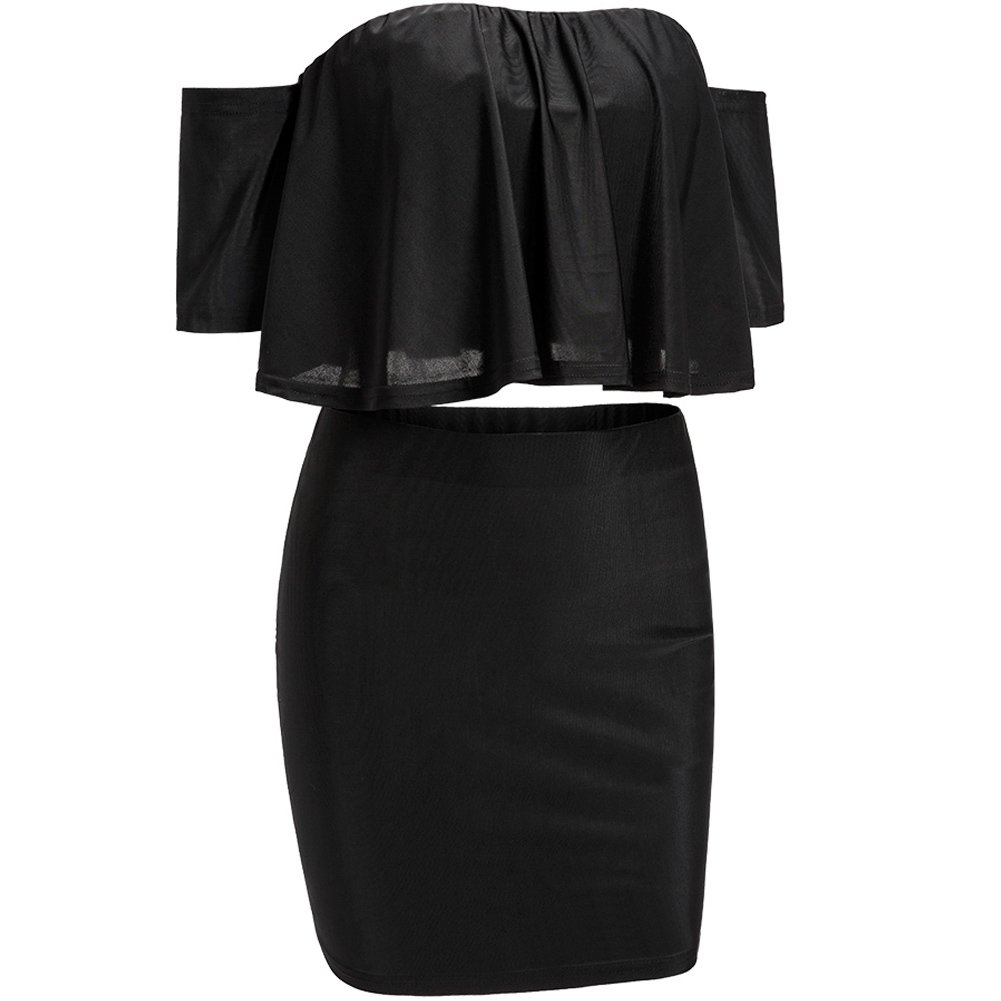 3a62f7eb319 Bodycon4U Women s Off Shoulder Two Piece Ruffled Tube Top and Mini Skirt Set  at Amazon Women s Clothing store