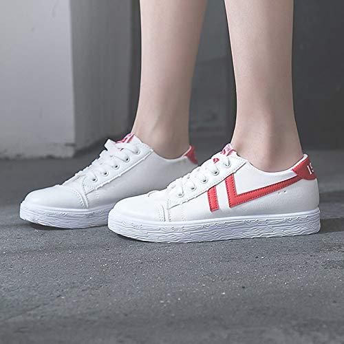 ZHZNVX Zapatos de Mujer PU (Poliuretano) Summer Comfort Sneakers Flat Heel Round Toe Black/Red / Blue Red