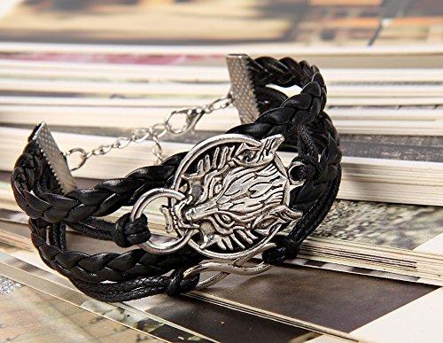 Flongo Bracelet Cuir Leather Corde Cordon Alliage Tete de Loup Symbole Infini Tresse Retro Punk Rock Charme Reglable Fantaisie Bijoux Cadeau Couleur Noir pour Femme Homme
