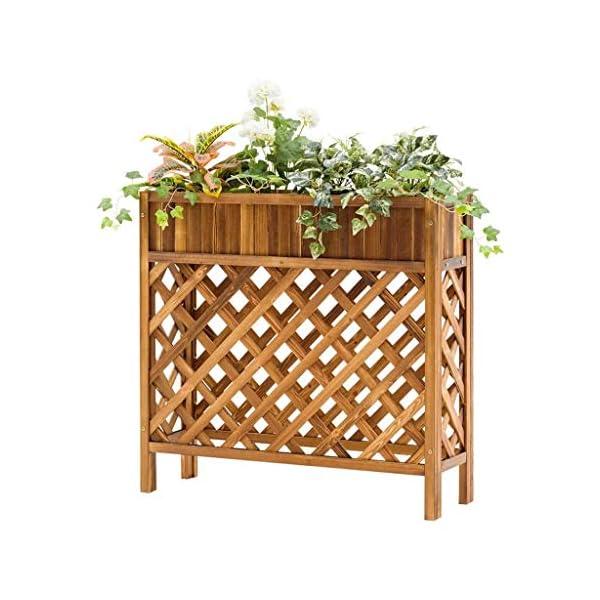 HEMFV Solido Fiore Legno Posizione Balcone Fence Wood Floor Minimalista Moderno Flower Pot Stand al Coperto Soggiorno 1 spesavip